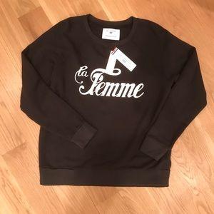 NWT Anthropologie Sol Angeles LA FEMME Graphic Sweatshirt Size XS Black